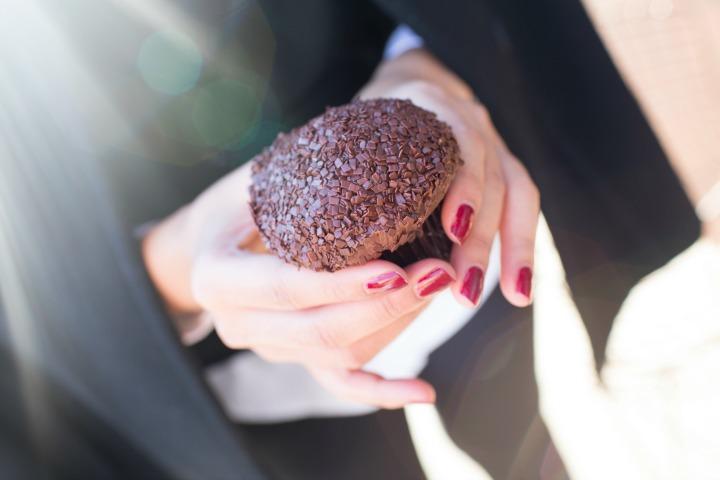 Dark Chocolate Sprinkles Cupcake