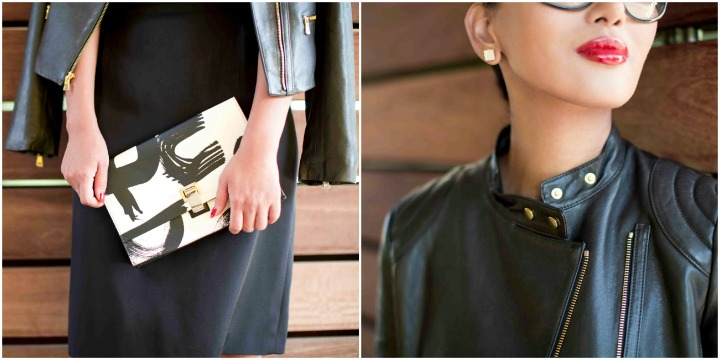 Proenza Schouler black and white graphic clutch