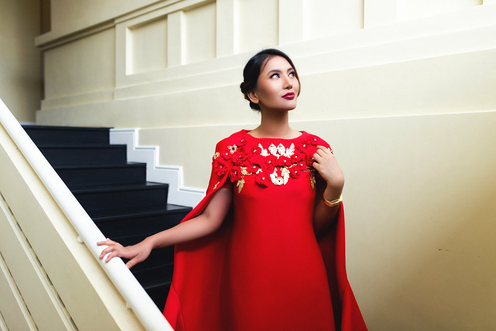 Fashionable Woman In All Red