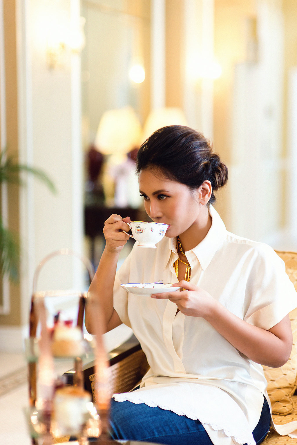 Businesswoman Having High Tea at The Majestic Hotel Malaysia