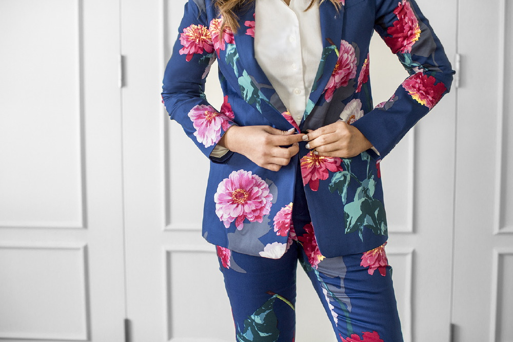 Floral Print Suit By Banana Republic
