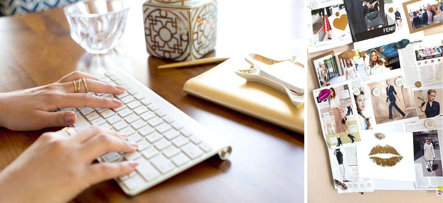 Gold Office Desk Accessories and Fashion Collage