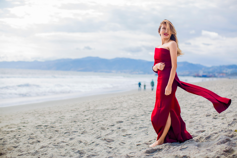 heidi nazarudin in a red dress