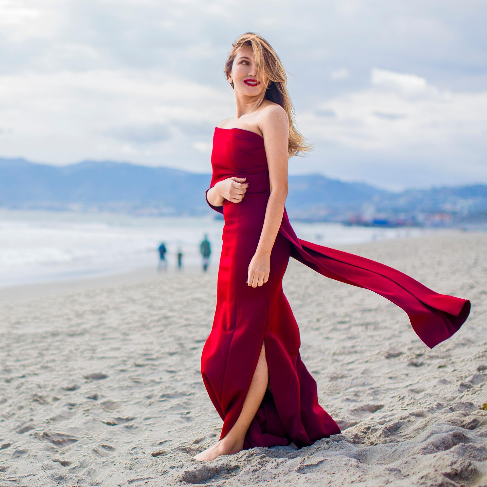 heidi in a red dress